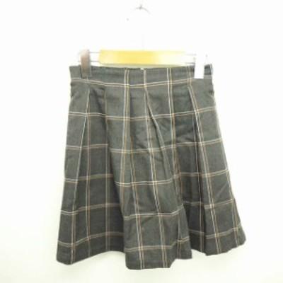 【中古】レンアイケイカク RENAI KEIKAKU スカート フレア ミニ チェック バックジップ 1 グレー ホワイト 灰 白