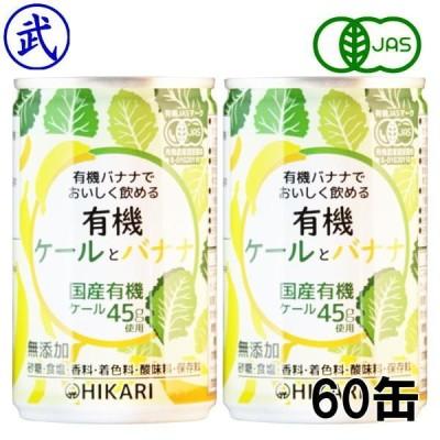 光食品・有機ケールとバナナ 2箱(160g×60缶) /有機ケールと有機バナナでおいしく飲める。有機ケール45g使用、有機JAS認定野菜ジュース ヒカリ食品 ギフト