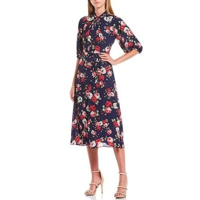 ドナモーガン レディース ワンピース トップス Twist Neck Floral Print Tie Waist Georgette Midi Dress