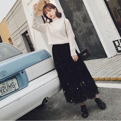 シアースカート チュールスカート ロング チュールスカート 大きいサイズ シースルー チュール スカート ロングスカート ニュアンスカラー ロングスカート メッ