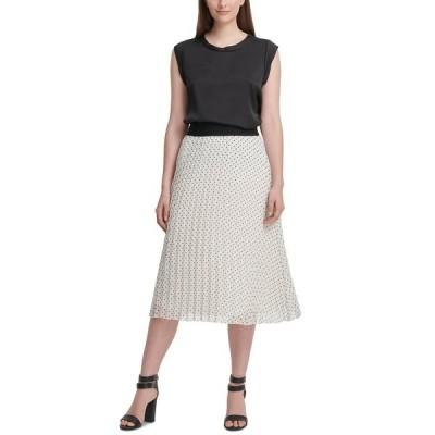 ダナ キャラン ニューヨーク スカート ボトムス レディース Pleated Midi Skirt Ivory Dot