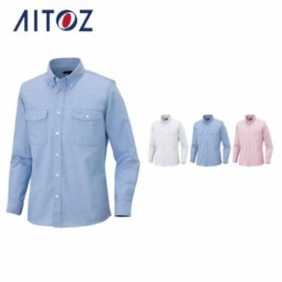 AZ-7880 アイトス メンズ長袖オックスボタンダウンシャツ(両ポケットフラップ付き)   作業着 作業服 オフィス ユニフォーム メンズ レ