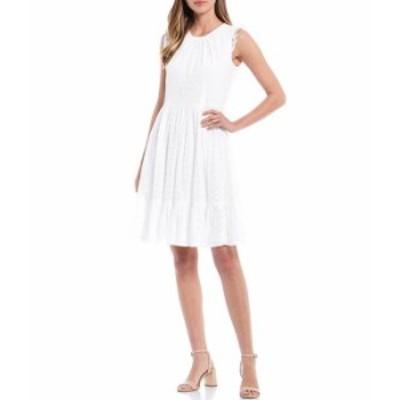 カルバンクライン レディース ワンピース トップス Embroidered Chiffon Ruffle Sleeve Round Neck Dress White