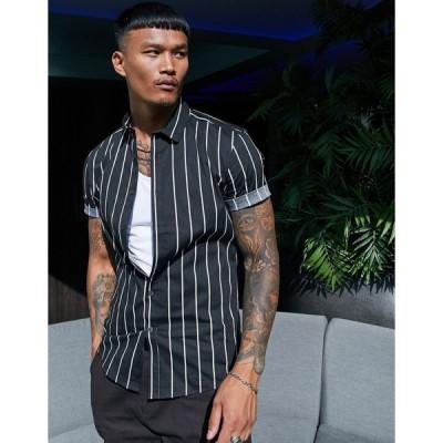 エイソス ワークシャツ メンズ ASOS DESIGN stretch skinny viscose stripe shirt in black エイソス ASOS ブラック 黒