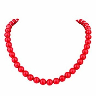 LUREME Fashion 10mm Red Shell Pearl Elastic Necklace for Women and Girls (nl006022)