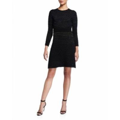 ケイトスペード レディース ワンピース トップス scallop shine long-sleeve sweater dress BLACK