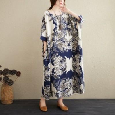 ワンピース ロング丈 マキシ丈 半袖 ラウンドネック レディース 女性 婦人服 花柄 レトロ アジアン ゆったり 大きめ 体型カバー 5分袖 か