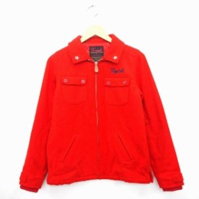 【中古】エックスガール x-girl ジャケット アウター 中綿 リブ ジップアップ 刺繍 長袖 ウール混 1 レッド 赤 /MT10