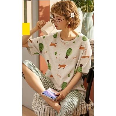 サマーレディース スウェット パジャマ 半袖7分長ズボン 上下2点セット 棉 夏作用シャツ 短パン  可愛い 寝間着 ルームウェア 部屋着 ワンマイルウェア