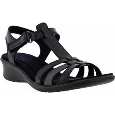 エコー レディース サンダル シューズ Women's ECCO Finola T Strap Wedge Sandal Black/Dark Shadow Nappa/Full Grain Leather