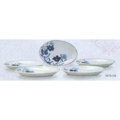 九谷焼 N73-09 伝統工芸士 宮吉由美子作 楕円皿揃 5号 お花畑 11×15.7×2.5cm 化粧箱