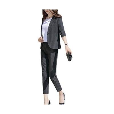 春 夏 秋 冬スーツレディース ストライプ 全3色 パンツ+ジャケット 通勤 フォーマル カジュアル スーツ おおきいサイズ