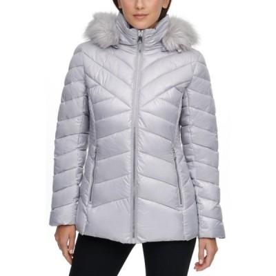 ケネスコール レディース ジャケット&ブルゾン アウター Faux Fur Front Zip Puffer Jacket SILVER