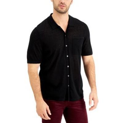 アルファニ メンズ シャツ トップス Men's Linen Pocket Shirt, Created for Macy's Deep Black