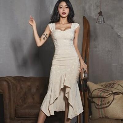 キャバ ドレス キャバドレス ワンピース ミディアムドレス マーメイドライン クラシカル シック ツーピース ビスチェ ラグジュアリー ラ