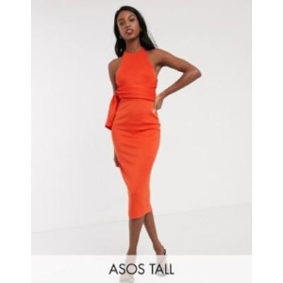 エイソス レディース ワンピース トップス ASOS DESIGN Tall racer front tie back pencil midi dress in fiery red Fiery red