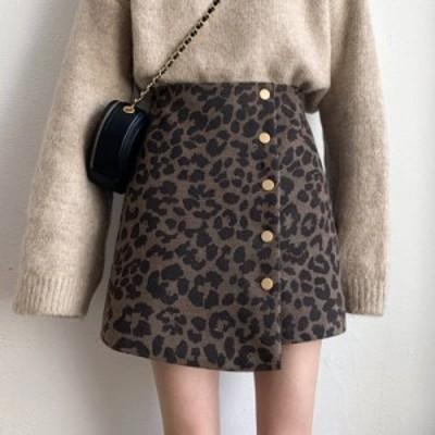 2色 レオパード柄 ミニスカート ボタン デート ガーリー レディース ファッション 韓国 オルチャン