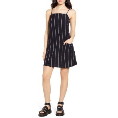 ビラボン レディース ワンピース トップス Stripe Cotton & Linen Blend Sundress BLK-BLACK