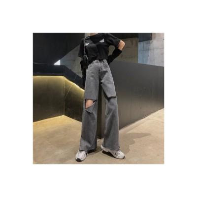 【送料無料】ストレート ルース ハイウエスト 着やせ ワイドパンツ 穴のジーンズ 女 | 364331_A63743-8765969