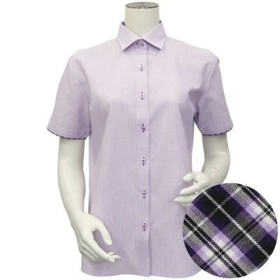 レディース ウィメンズシャツ 半袖 形態安定 ワイド衿 白×パープルストライプ (再生ポリエステル)