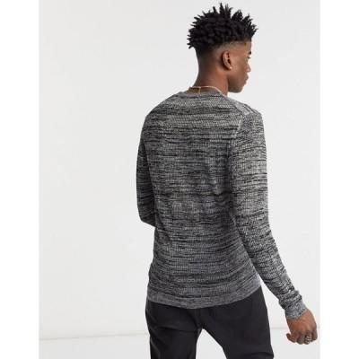 エイソス メンズ ニット&セーター アウター ASOS DESIGN knitted mesh sweater in silver metallic yarn SILVER