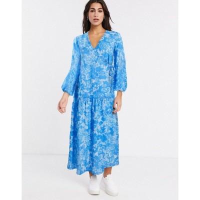 エイソス レディース ワンピース トップス ASOS DESIGN wrap smock maxi dress in blue floral Floral print