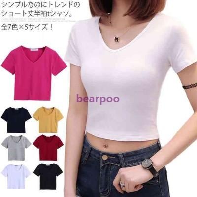 全7色×5サイズ!tシャツ レディース Vネック 半袖tシャツ Vネックtシャツ 半袖 カットソー トップス ショート丈 無地 タイト ダンス ハイウ