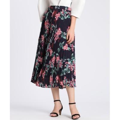 【エフデーゼ/EFDEISEE】 《大きいサイズ》ダフネプリントプリーツスカート《Maglie par ef-de》