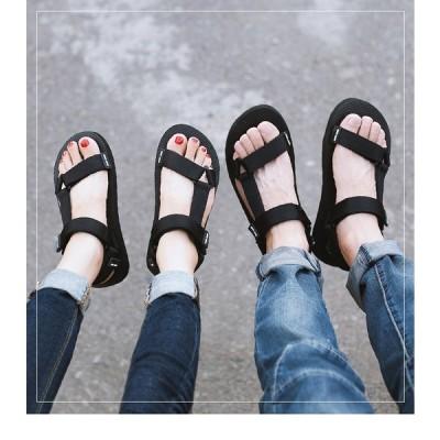 2019 夏 カジュアル サンダル ブラック レディス  歩きやすい 男女兼用 225〜270mm 厚底防水台 美脚 サマーサンダル