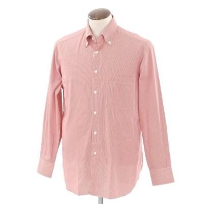 未使用 ブリーニ BURINI BURINI チェック BDシャツ レッド×ホワイト 41