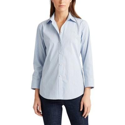 ラルフローレン カットソー トップス レディース Petite Striped Easy Care Shirt Blue Multi