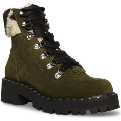 スティーブ マデン Steve Madden レディース ハイキング・登山 ブーティー レースアップ シューズ・靴 Receptive Lace-Up Hiker Booties Olive Suede