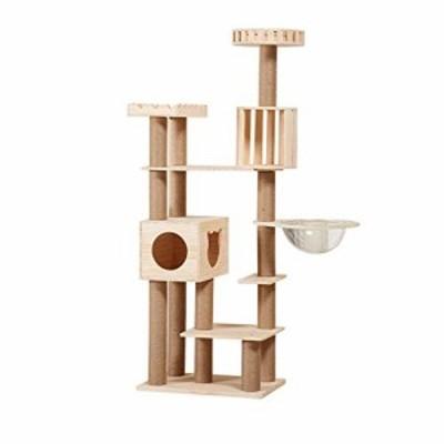 犬小屋 スペース・カプセル快適な経験を持つ木製の猫ツリータワーペットク (新古未使用品)