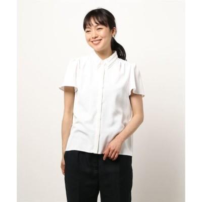 シャツ ブラウス ハシゴ刺繍衿半袖ブラウス