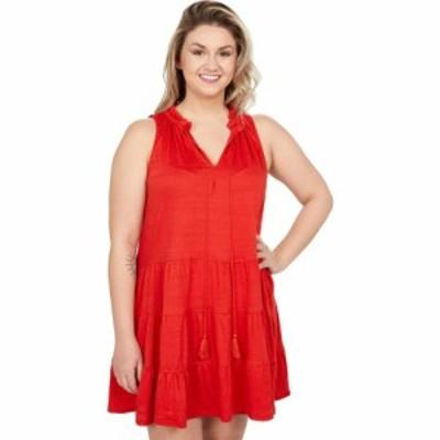 マックススタジオ MAXSTUDIO レディース ワンピース Aライン ワンピース・ドレス Jersey Neck Tie Tiered Short Dress Lava