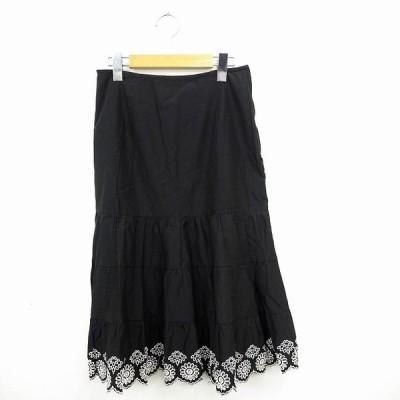 【中古】レストローズ L'EST ROSE スカート ボトムス フレア 刺繍 ロング丈 2 ブラック ホワイト 黒 白 /MT21 レディース 【ベクトル 古着】