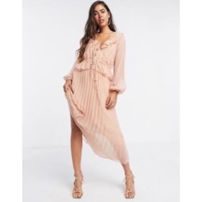 エイソス レディース ワンピース トップス ASOS DESIGN soft pleated midi dress with drawstring waist and frills in blush Blush