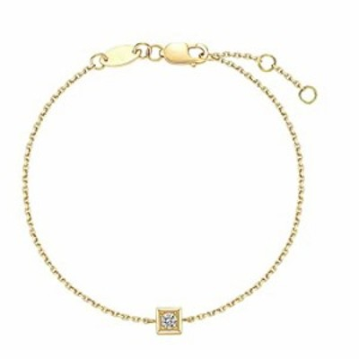 Carleen 18k Solid Real Yellow Gold Guardian Minimalist Bezel Setting Single 0.10ct Diamond Dainty Bracelet Delicate Fine Jewelry