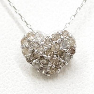ネックレス K18 18金 WG ホワイトゴールド ブラウンダイヤ 0.3 総重量約1.2g