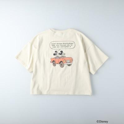 (ディズニー)DISNEY バックプリントTシャツ(ミッキー&ミニー) 【期間限定お買い得価格】