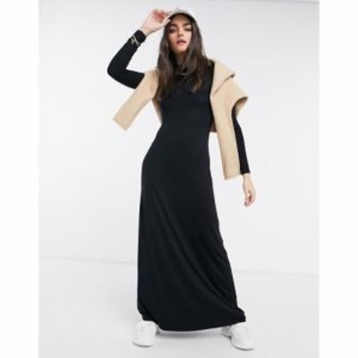エイソス ASOS DESIGN レディース ワンピース マキシ丈 ワンピース・ドレス High Neck Long Sleeve Maxi Dress In Black ブラック