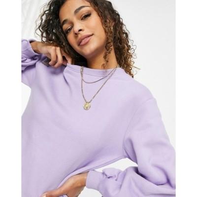 スリードベア レディース シャツ トップス Threadbare roman oversized raw hem sweatshirt in dusty lilac