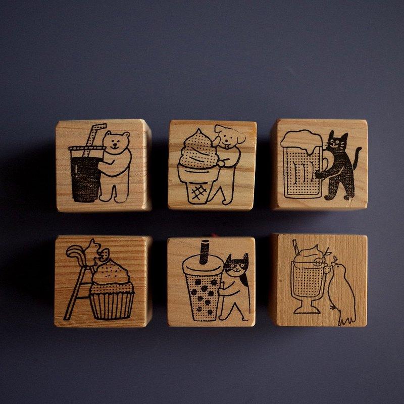 小犬工作室 犬其林飲食指南│飲料甜點類檜木印章(共6款)