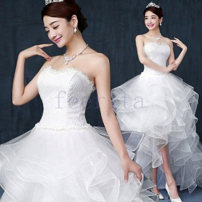 【サイズ有SMLXL】花嫁ドレス ウェディングドレス ロングドレス 花嫁 二次会 披露宴 結婚式 パーティドレス レース トレーン 白 Aライン