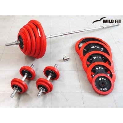 バーベルダンベルセット 145kg 赤ラバー / バーベルスクワット ダンベル 筋トレ トレーニング器具 ベンチプレス