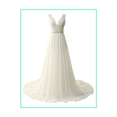 JAEDEN Beach Wedding Dress for Bride Chiffon Bridal Gown Lace Appliques Beading Ivory US8並行輸入品