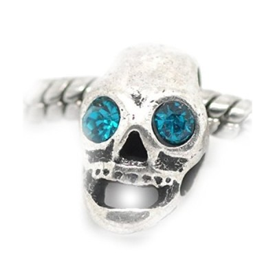Sexy Sparkles Blue Color Rhinestone Skull Charm Spacer Bead for Snake Chain