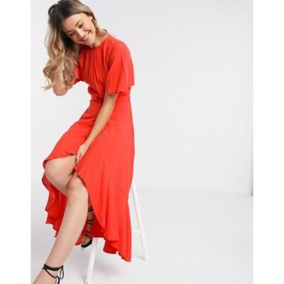 フレンチコネクション ミディドレス レディース French Connection drape midi dress with flutter sleeve エイソス ASOS レッド 赤