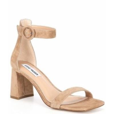 スティーブ マデン レディース サンダル シューズ Reverie Suede Square Toe Dress Sandals Natural Suede
