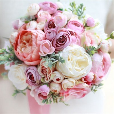 花 ウエディングブーケ ブーケ 花束 ブライダルブーケ 披露宴 歓迎会 結婚式 手作り 高級造花 お誕生日 大人気 お祝い ウェディング用 花嫁 造花 プレゼント